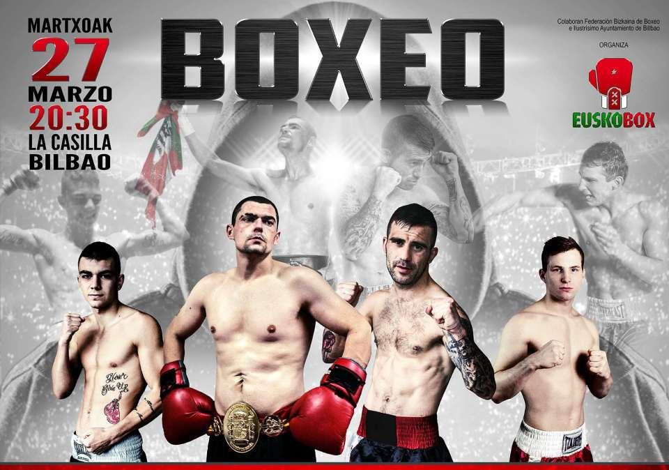 Cartel de la velada de boxeo del próximo 15 de marzo en La Casilla (Bilbao)